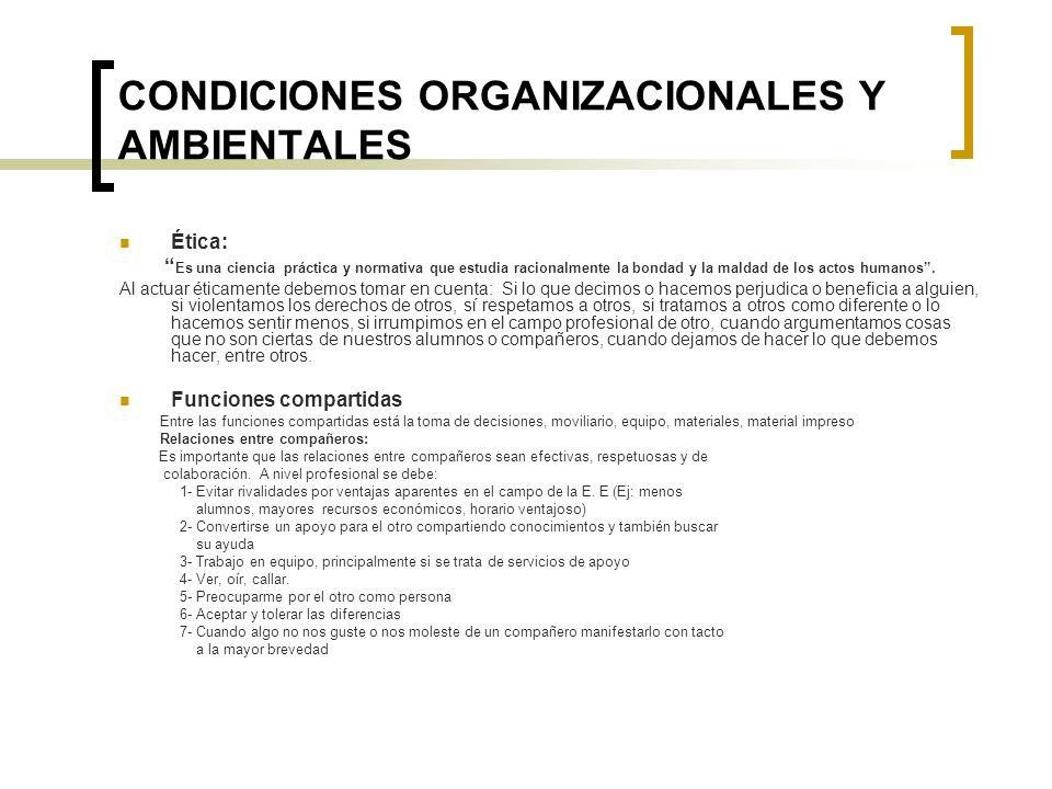 CONDICIONES ORGANIZACIONALES Y AMBIENTALES