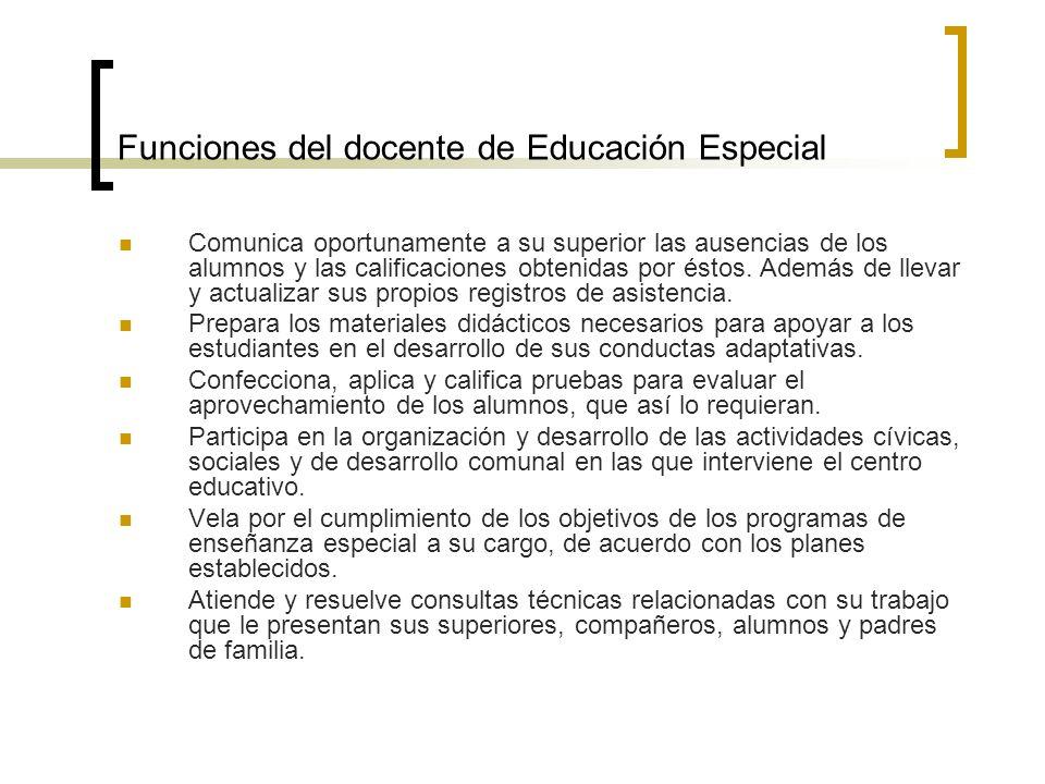 Funciones del docente de Educación Especial