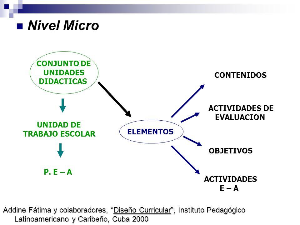 Nivel Micro CONJUNTO DE UNIDADES DIDACTICAS CONTENIDOS ACTIVIDADES DE