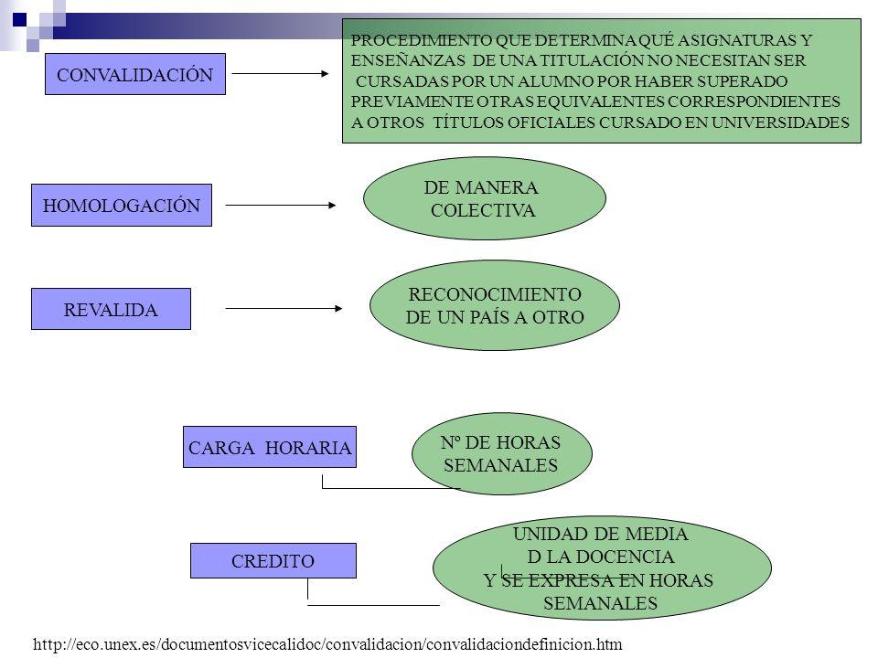 CONVALIDACIÓN DE MANERA COLECTIVA HOMOLOGACIÓN RECONOCIMIENTO