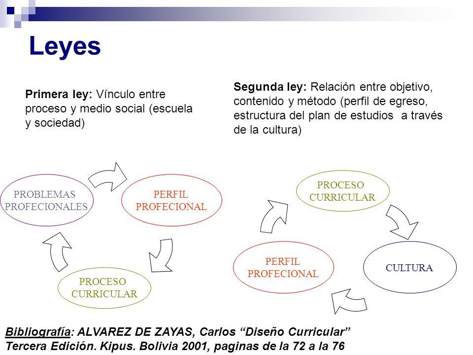Leyes Segunda ley: Relación entre objetivo, contenido y método (perfil de egreso, estructura del plan de estudios a través de la cultura)