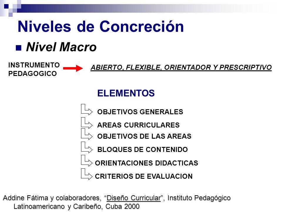 Niveles de Concreción Nivel Macro ELEMENTOS INSTRUMENTO