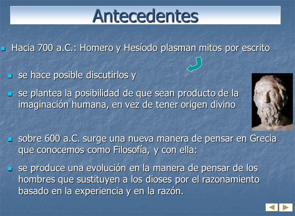 Antecedentes Hacia 700 a.C.: Homero y Hesíodo plasman mitos por escrito. se hace posible discutirlos y.