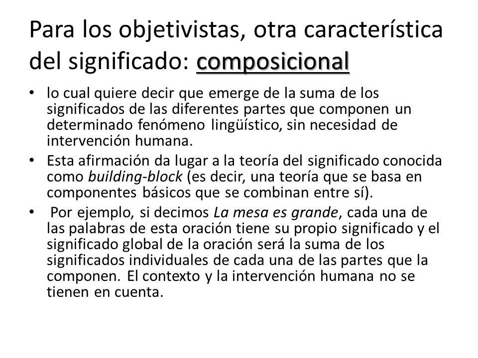 Para los objetivistas, otra característica del significado: composicional