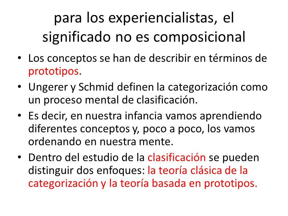 para los experiencialistas, el significado no es composicional