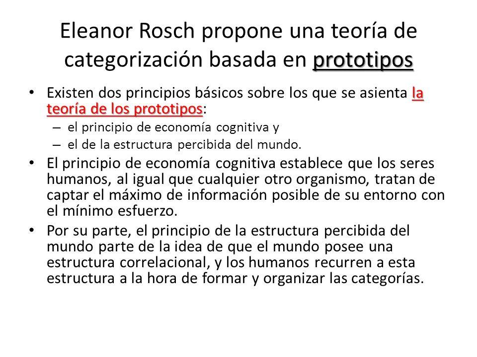 Eleanor Rosch propone una teoría de categorización basada en prototipos