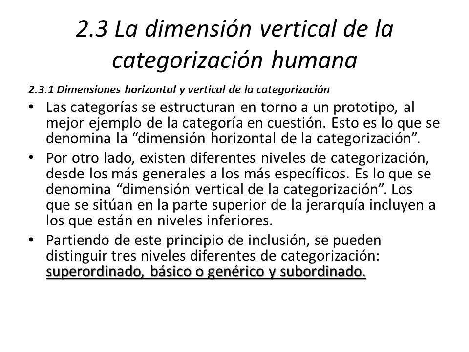 2.3 La dimensión vertical de la categorización humana
