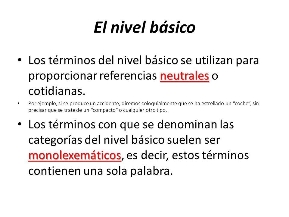 El nivel básico Los términos del nivel básico se utilizan para proporcionar referencias neutrales o cotidianas.