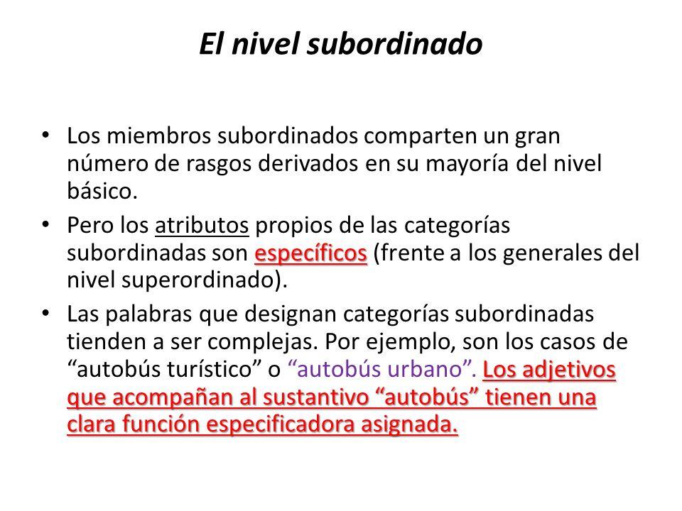 El nivel subordinado Los miembros subordinados comparten un gran número de rasgos derivados en su mayoría del nivel básico.