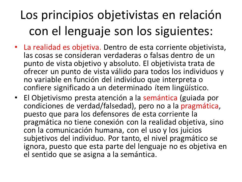 Los principios objetivistas en relación con el lenguaje son los siguientes: