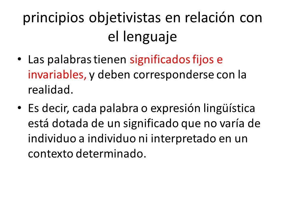 principios objetivistas en relación con el lenguaje