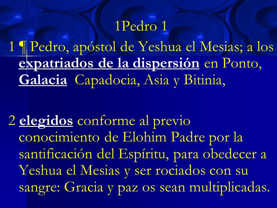 1Pedro 11 ¶ Pedro, apóstol de Yeshua el Mesias; a los expatriados de la dispersión en Ponto, Galacia, Capadocia, Asia y Bitinia,