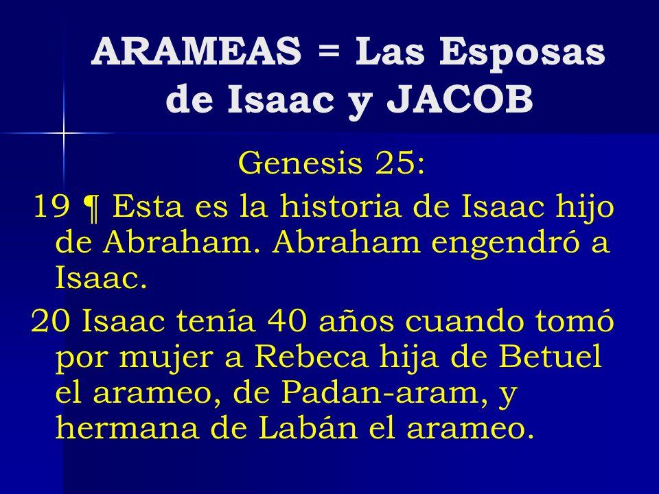 ARAMEAS = Las Esposas de Isaac y JACOB