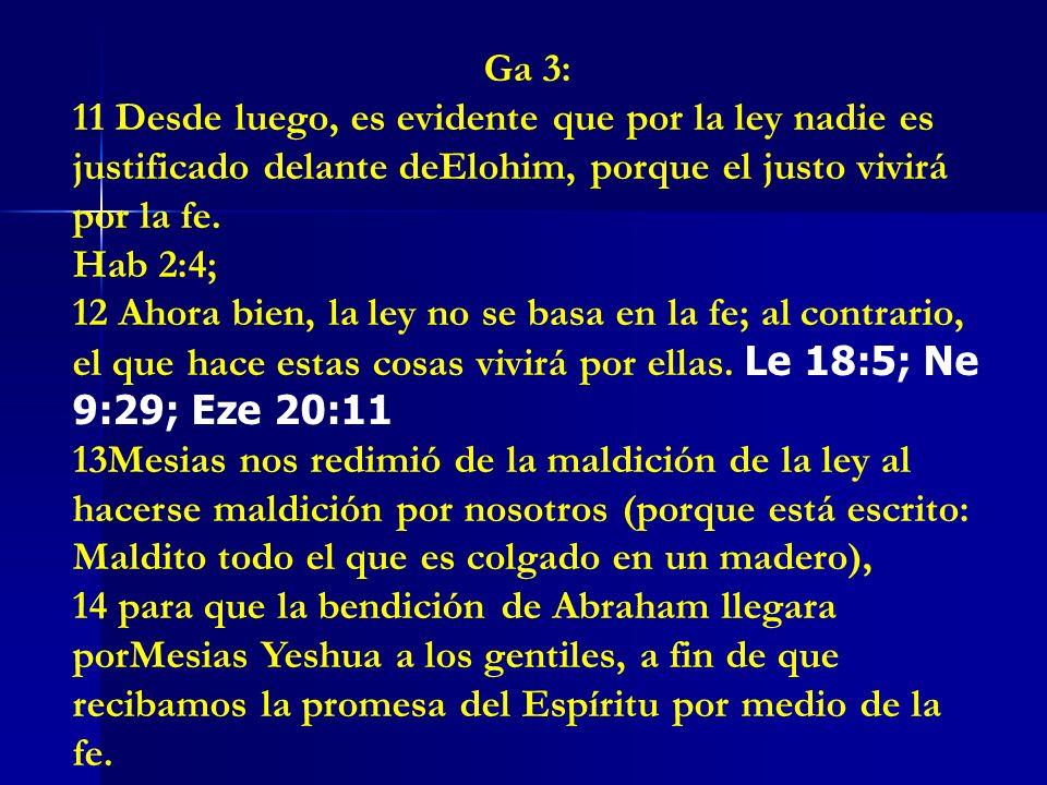 Ga 3:11 Desde luego, es evidente que por la ley nadie es justificado delante deElohim, porque el justo vivirá por la fe.