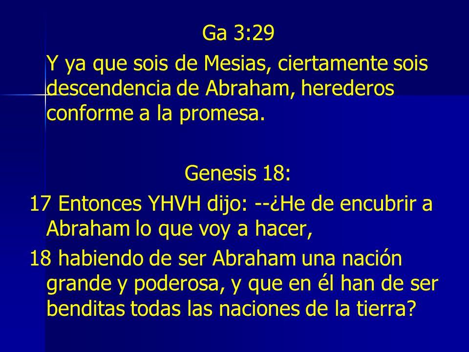 Ga 3:29 Y ya que sois de Mesias, ciertamente sois descendencia de Abraham, herederos conforme a la promesa.