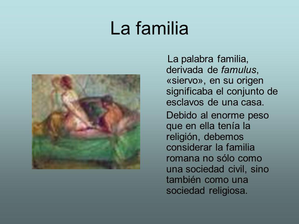 La familia La palabra familia, derivada de famulus, «siervo», en su origen significaba el conjunto de esclavos de una casa.