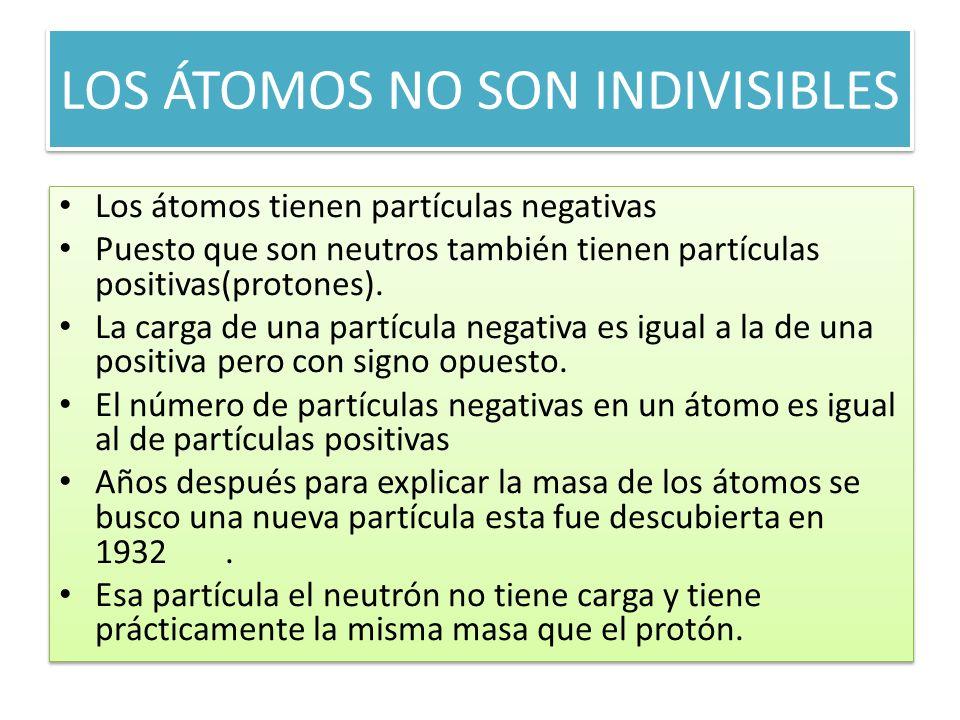 LOS ÁTOMOS NO SON INDIVISIBLES