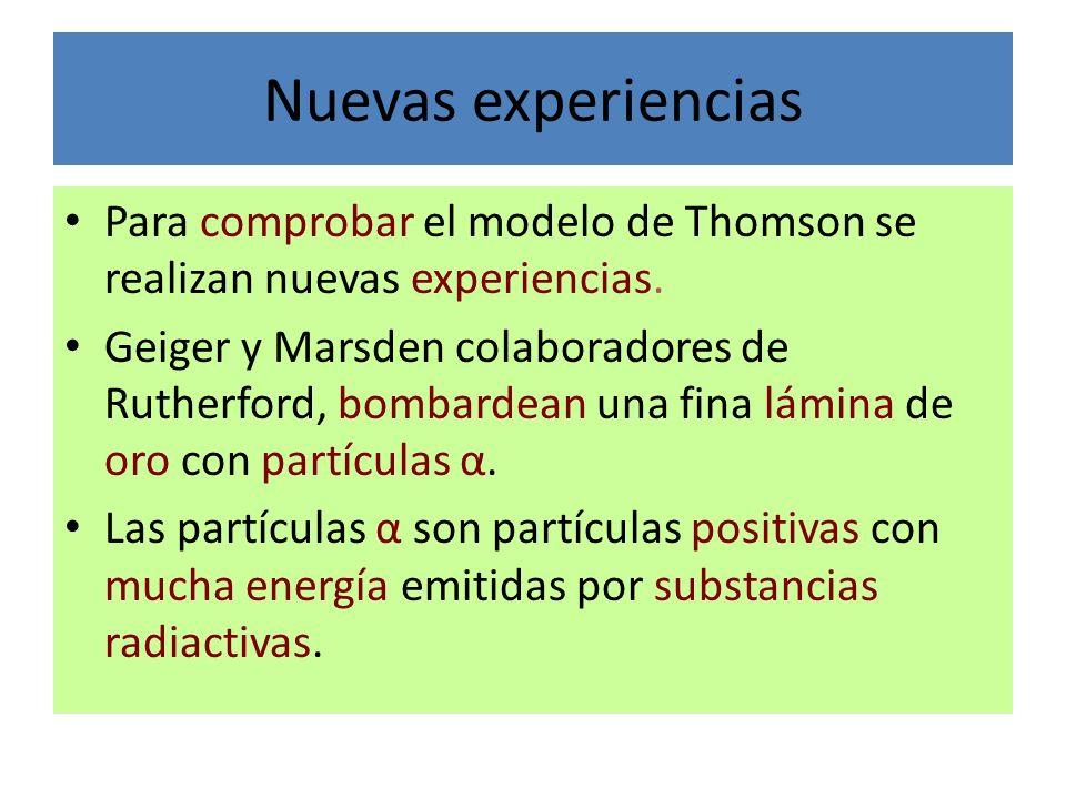 Nuevas experiencias Para comprobar el modelo de Thomson se realizan nuevas experiencias.