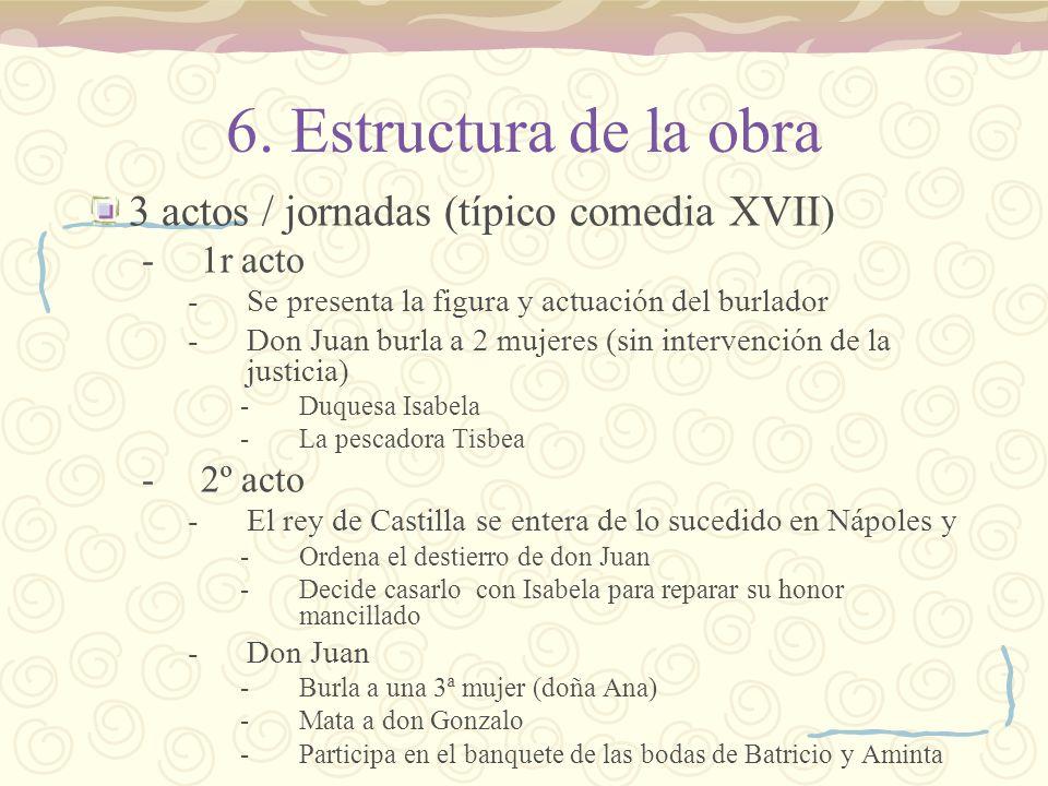 6. Estructura de la obra 3 actos / jornadas (típico comedia XVII)