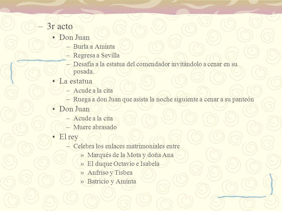 3r acto Don Juan La estatua El rey Burla a Aminta Regresa a Sevilla