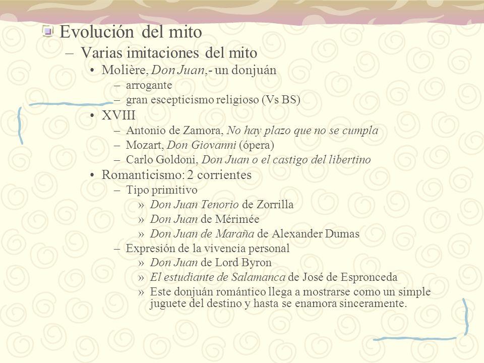 Evolución del mito Varias imitaciones del mito