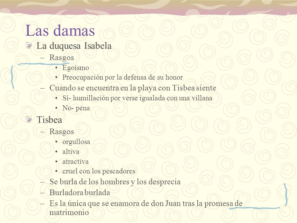 Las damas La duquesa Isabela Tisbea Rasgos