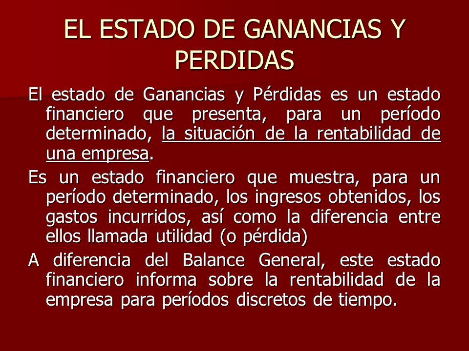EL ESTADO DE GANANCIAS Y PERDIDAS