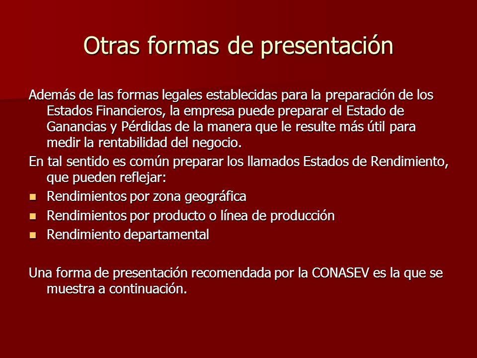 Otras formas de presentación