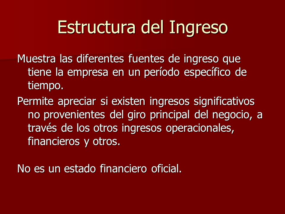 Estructura del Ingreso