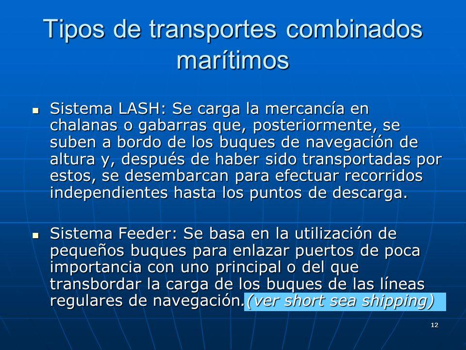 Tipos de transportes combinados marítimos