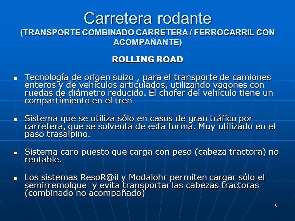 Carretera rodante (TRANSPORTE COMBINADO CARRETERA / FERROCARRIL CON ACOMPAÑANTE)