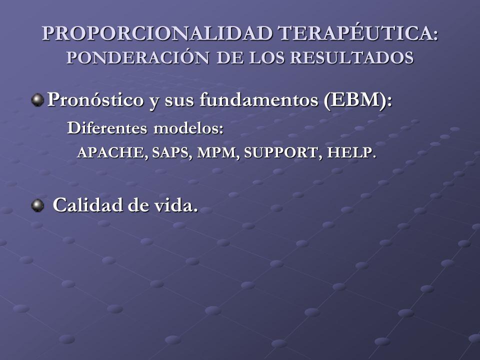 PROPORCIONALIDAD TERAPÉUTICA: PONDERACIÓN DE LOS RESULTADOS
