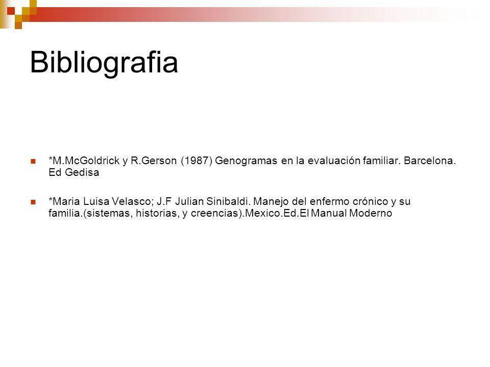 Bibliografia*M.McGoldrick y R.Gerson (1987) Genogramas en la evaluación familiar. Barcelona. Ed Gedisa.