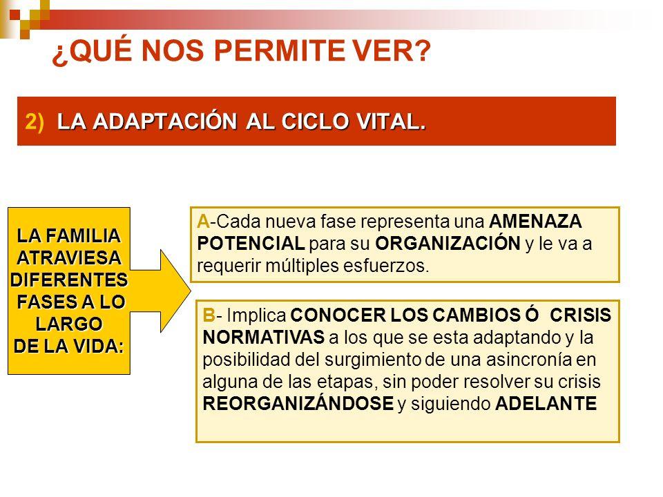 2) LA ADAPTACIÓN AL CICLO VITAL.