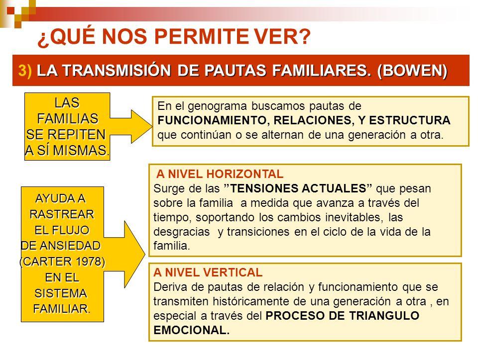 ¿QUÉ NOS PERMITE VER 3) LA TRANSMISIÓN DE PAUTAS FAMILIARES. (BOWEN)