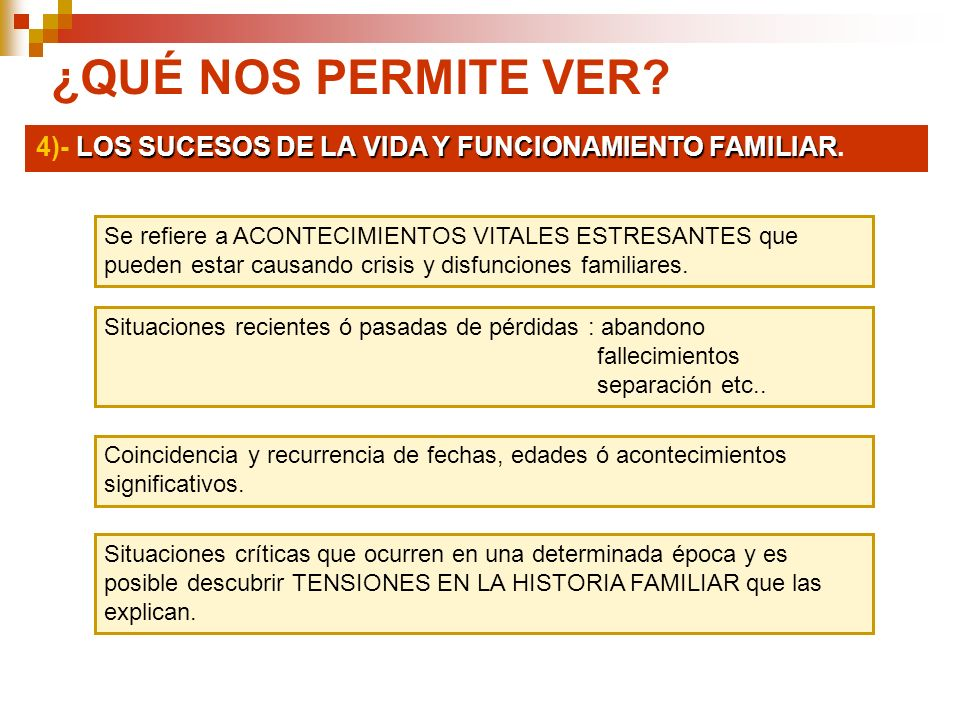 ¿QUÉ NOS PERMITE VER 4)- LOS SUCESOS DE LA VIDA Y FUNCIONAMIENTO FAMILIAR.