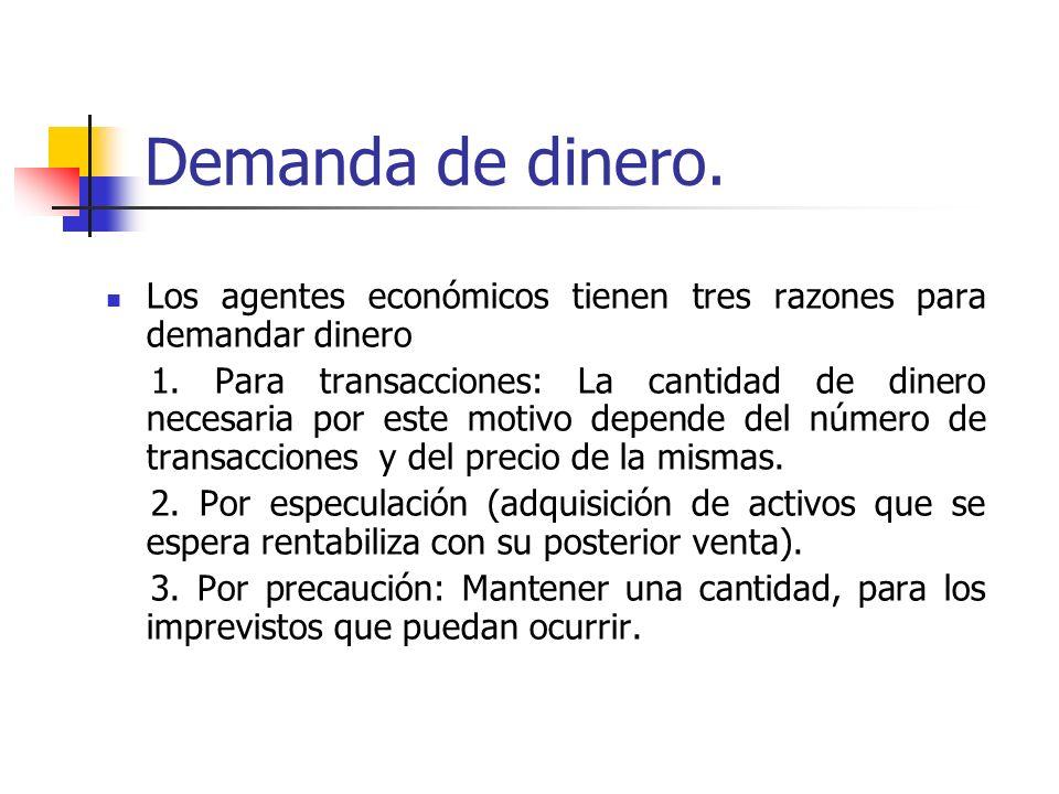 Demanda de dinero. Los agentes económicos tienen tres razones para demandar dinero.