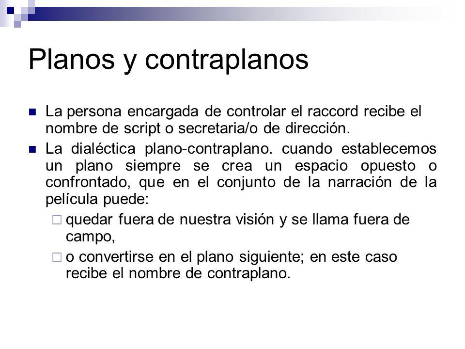 Planos y contraplanos La persona encargada de controlar el raccord recibe el nombre de script o secretaria/o de dirección.
