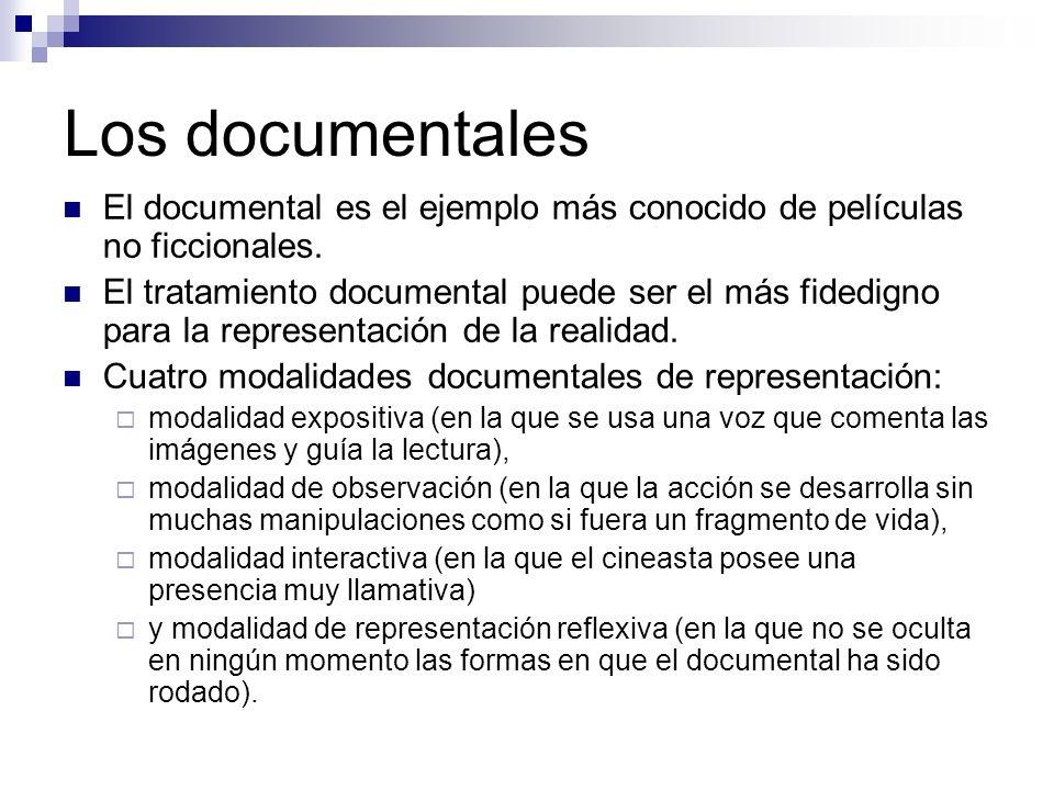 Los documentales El documental es el ejemplo más conocido de películas no ficcionales.