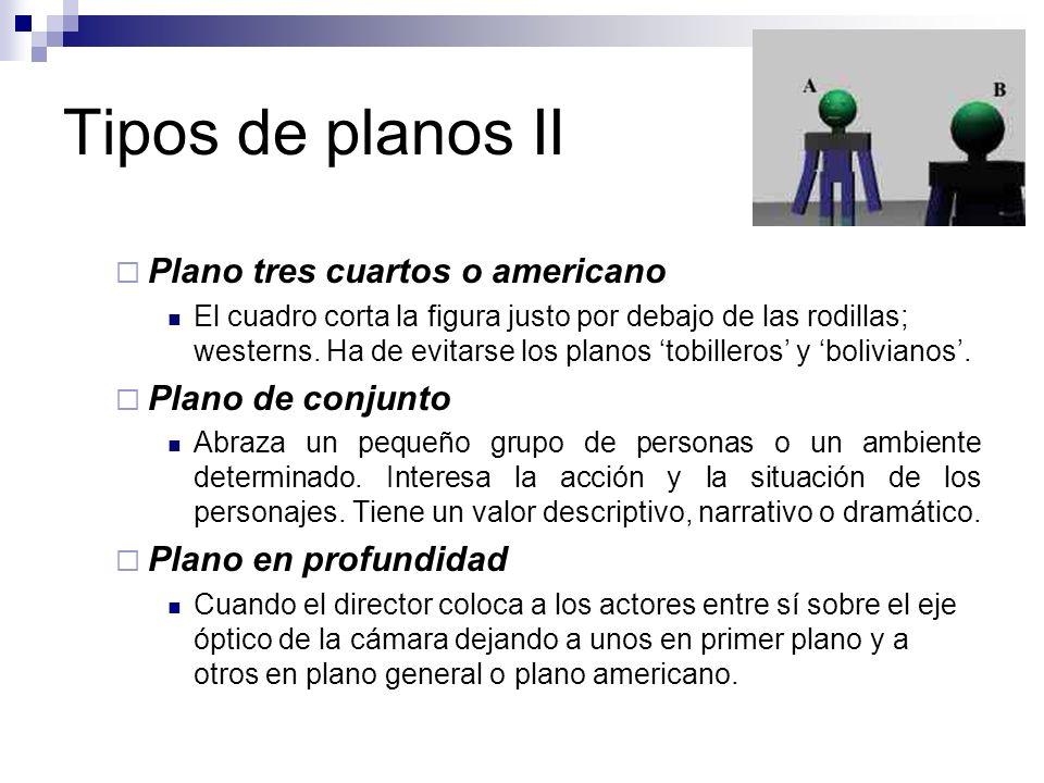 Tipos de planos II Plano tres cuartos o americano Plano de conjunto