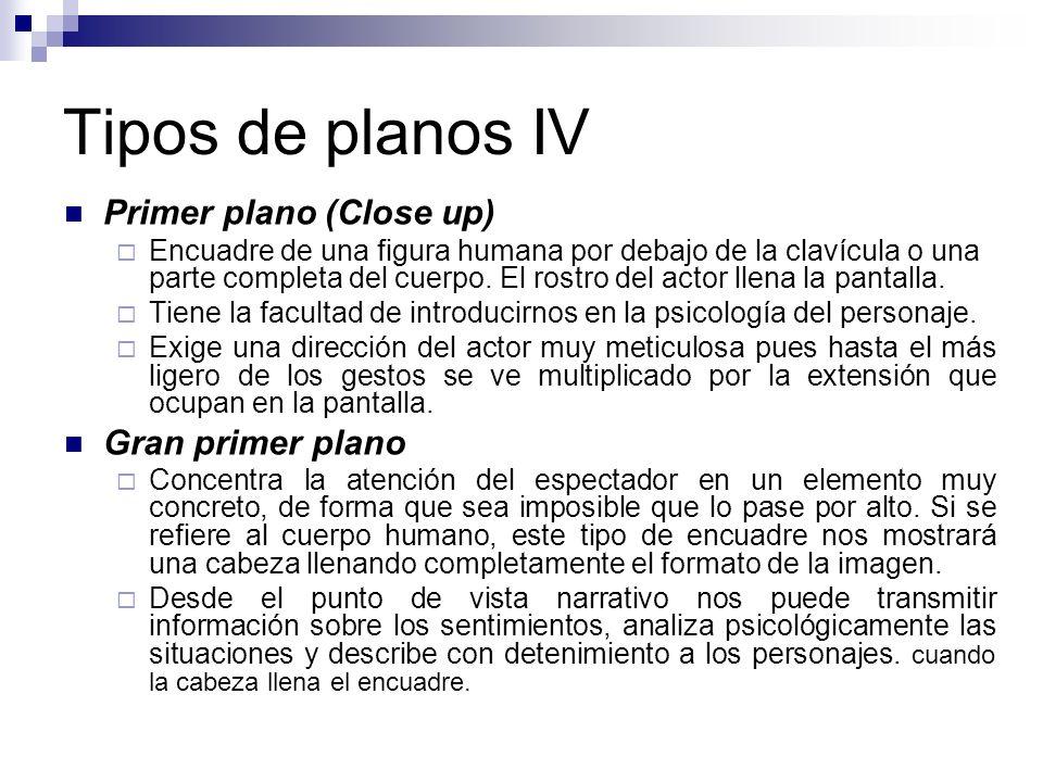 Tipos de planos IV Primer plano (Close up) Gran primer plano