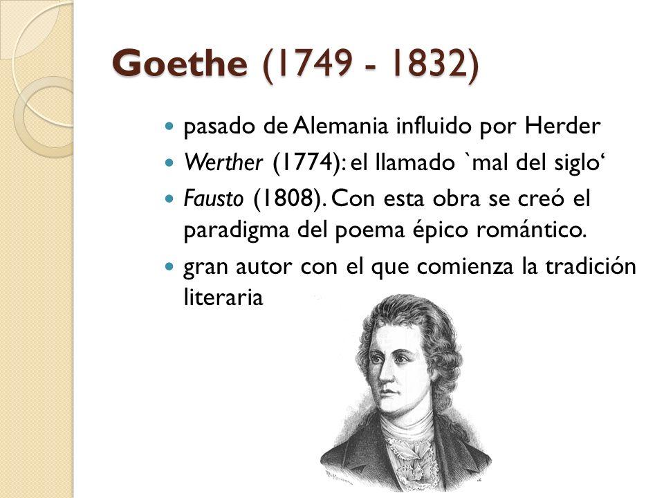 Goethe (1749 - 1832) pasado de Alemania influido por Herder
