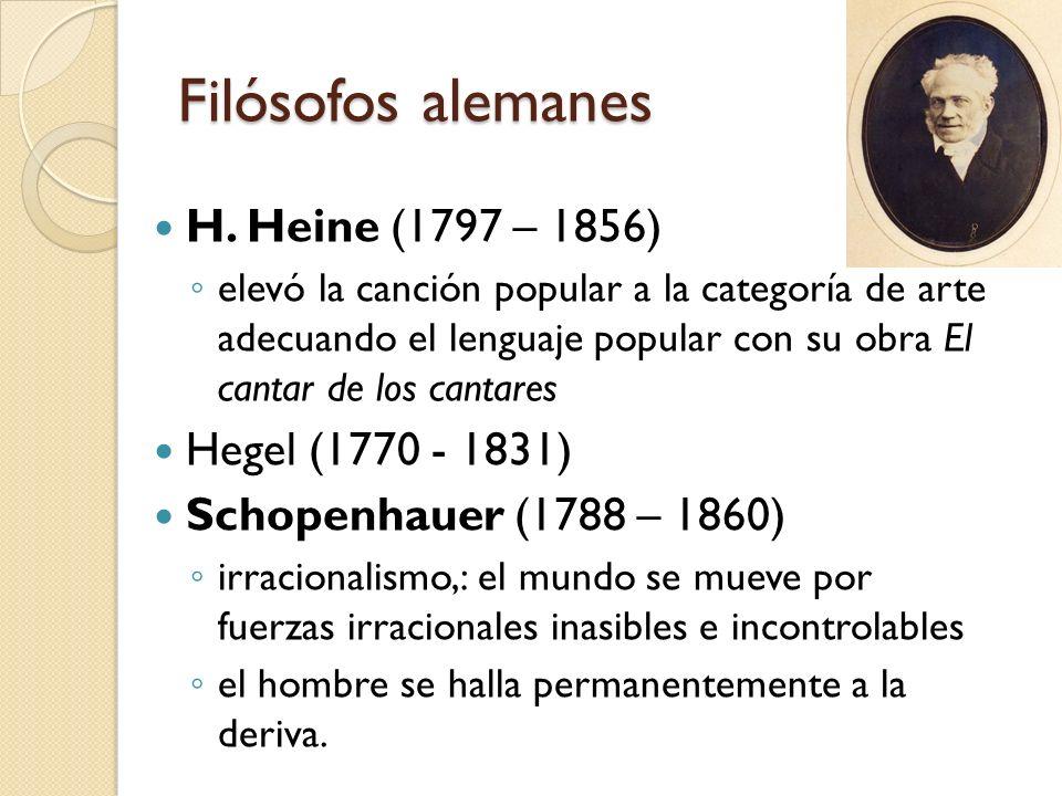 Filósofos alemanes H. Heine (1797 – 1856) Hegel (1770 - 1831)