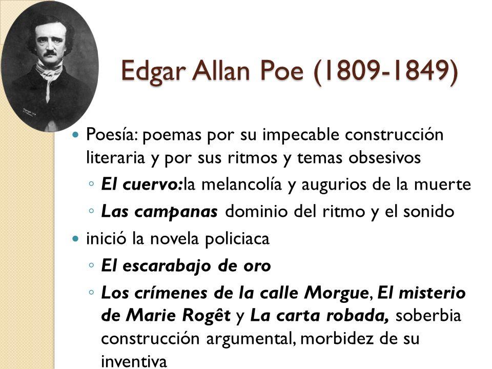 Edgar Allan Poe (1809-1849) Poesía: poemas por su impecable construcción literaria y por sus ritmos y temas obsesivos.