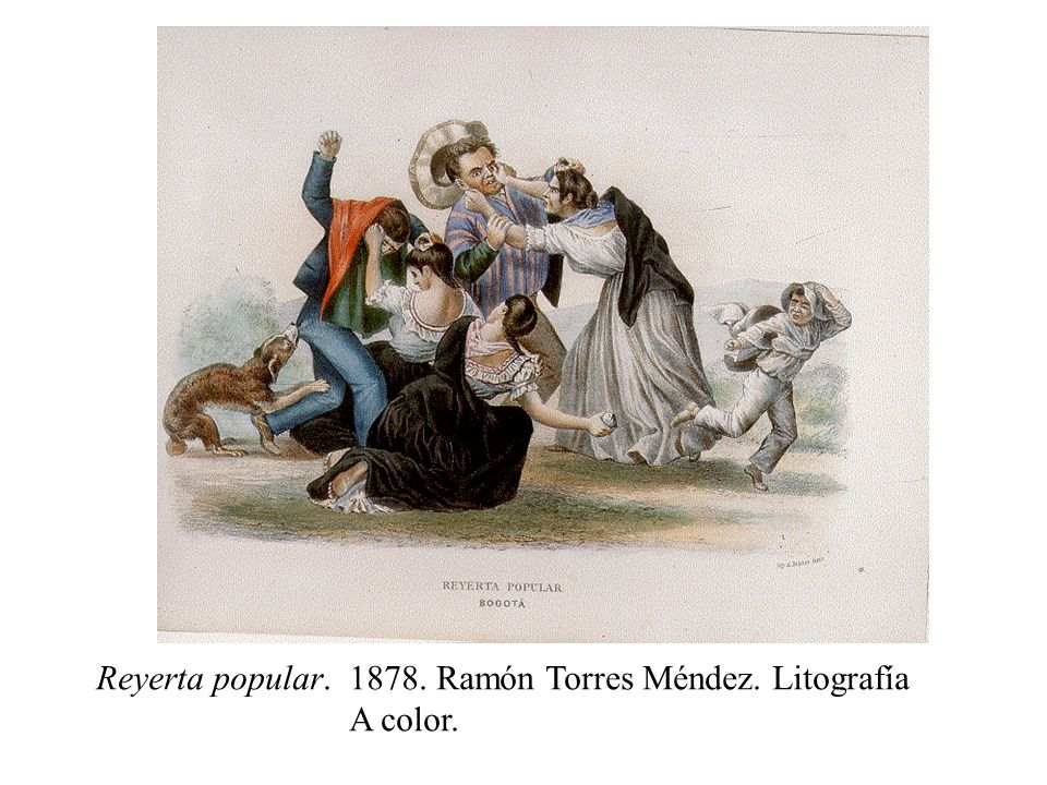 Reyerta popular. 1878. Ramón Torres Méndez. Litografía A color.