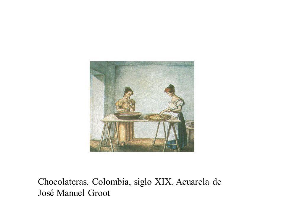 Chocolateras. Colombia, siglo XIX. Acuarela de