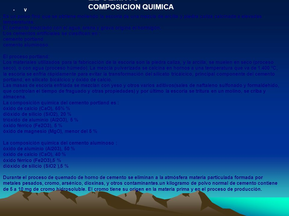 EL CEMNTO COMPOSICION QUIMICA