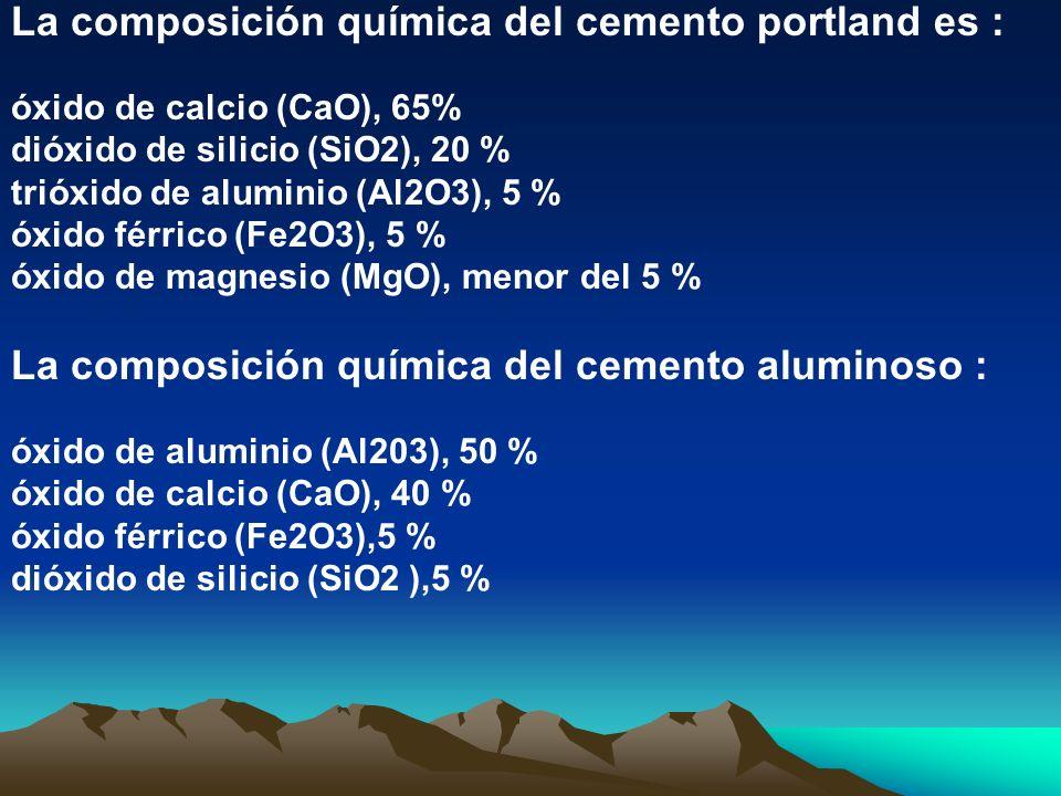 La composición química del cemento portland es :