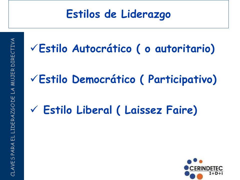 Estilos de Liderazgo Estilo Autocrático ( o autoritario) Estilo Democrático ( Participativo) Estilo Liberal ( Laissez Faire)