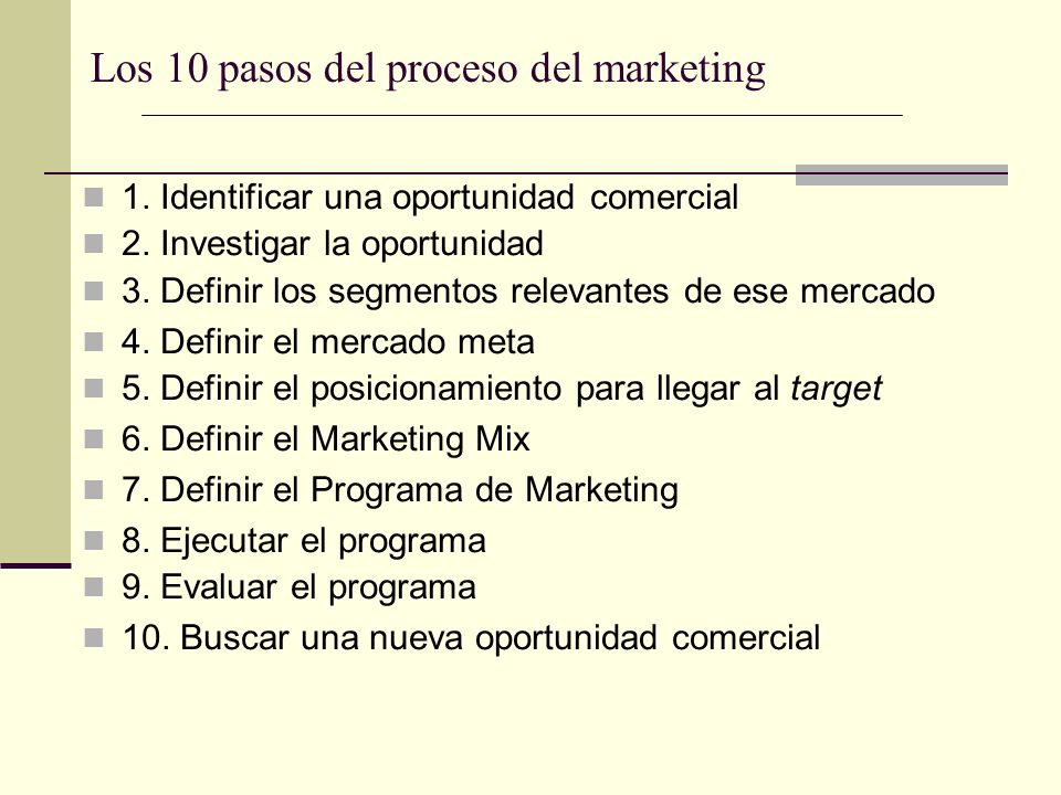 Los 10 pasos del proceso del marketing